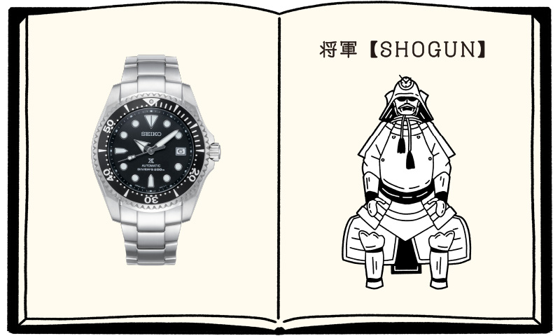 「SHOGUN」の正面写真と「将軍」の甲冑のイラスト