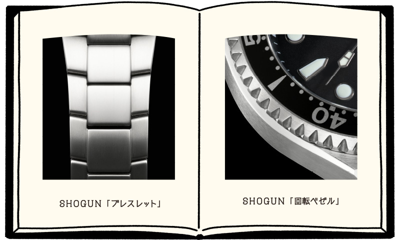 「SHOGUN」のブレスレットと回転ベゼルの拡大写真