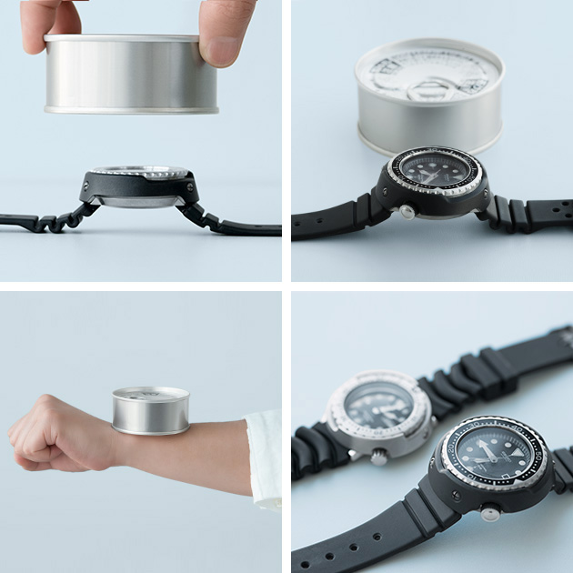 Photo comparison between a tuna can and a Tuna Can watch. Side by side, or a tuna can on the wrist.