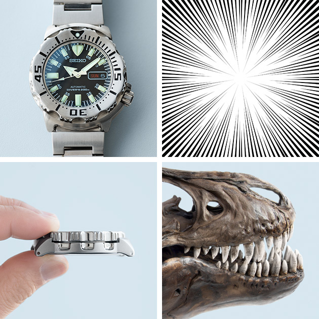 Front and side views of the Monster watch / Illustration of a cartoon concentration lines / Photo of dinosaur bones and fangs