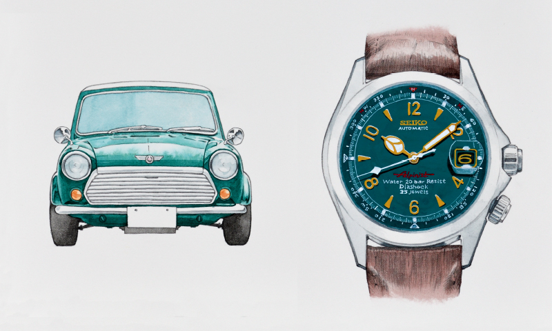 Sakai was inspired by the almond green color of the Mini Rover and chose it for the dial.