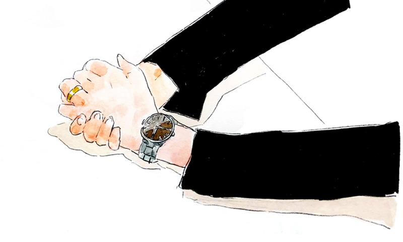 林氏が身につけているグランドセイコー(品番SBGA281)のイラスト