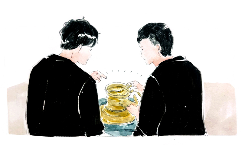 陶芸をする安藤氏と林氏のイラスト