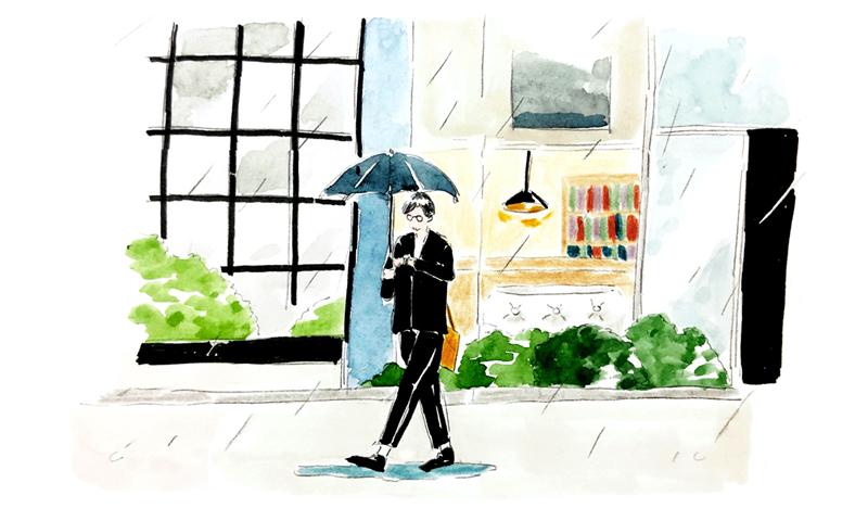 雨の中傘をさす吉泉氏のイラスト