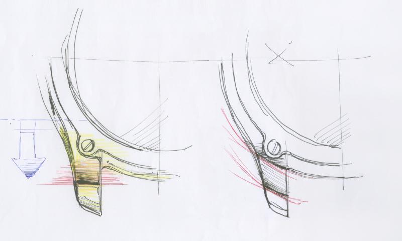 かん足の「平行アール」のラフスケッチ