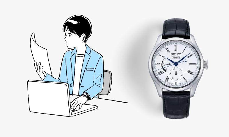 ビジネスカジュアルな服装のイラストと白琺瑯ダイヤルのプレザージュ(品番SARW035)の写真。白琺瑯の文字板、クロコダイルバンド。
