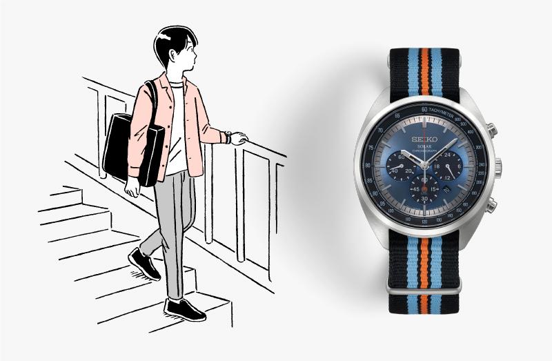 カジュアルな服装の男性のイラストと、SSC667P9の写真。カラフルなナイロンバンドで青文字板。