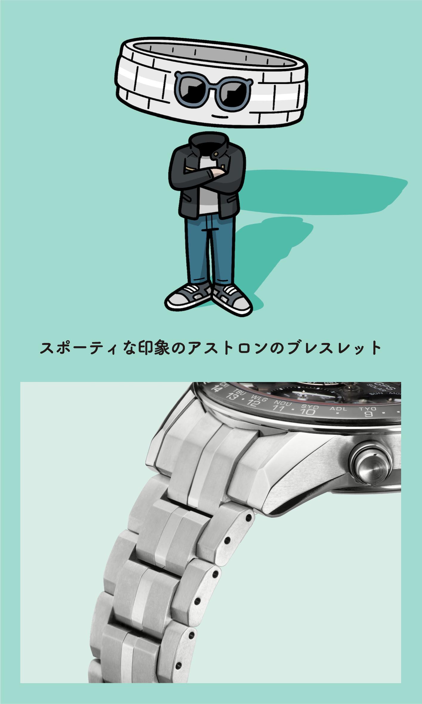 スポーティな印象のアストロンのブレスレット(ブレスレットの拡大写真)