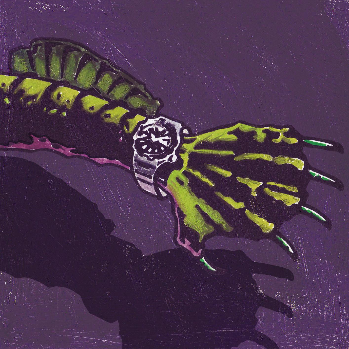 四代目モデルSBDY033を着けた怪物の腕のイラスト。