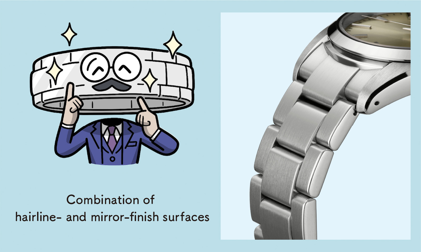 Combination of hairline- and mirror-finish surfaces (Enlarged photo of the bracelet)