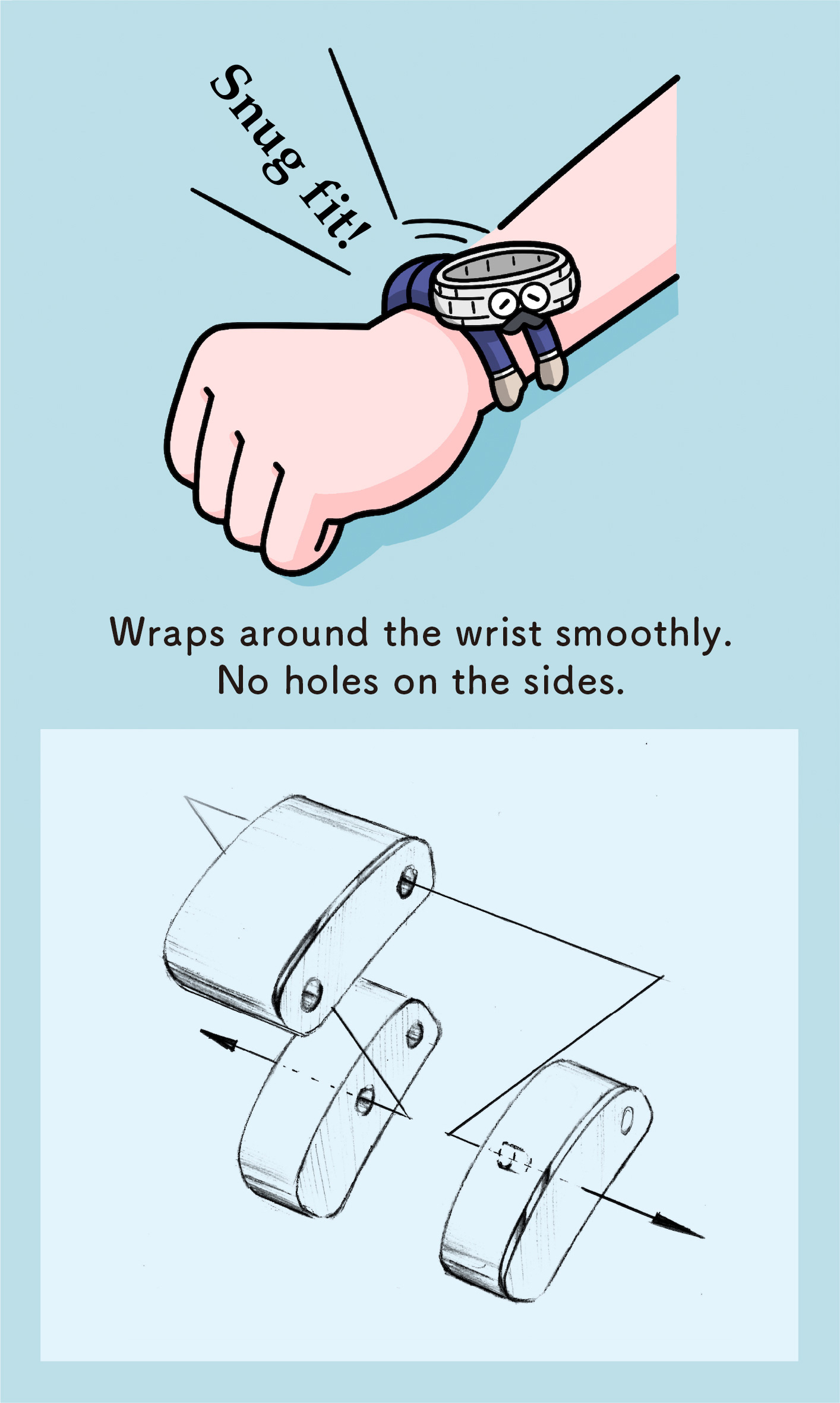 Wraps around the wrist smoothly. No holes on the sides. (Illustration of the structure of links)
