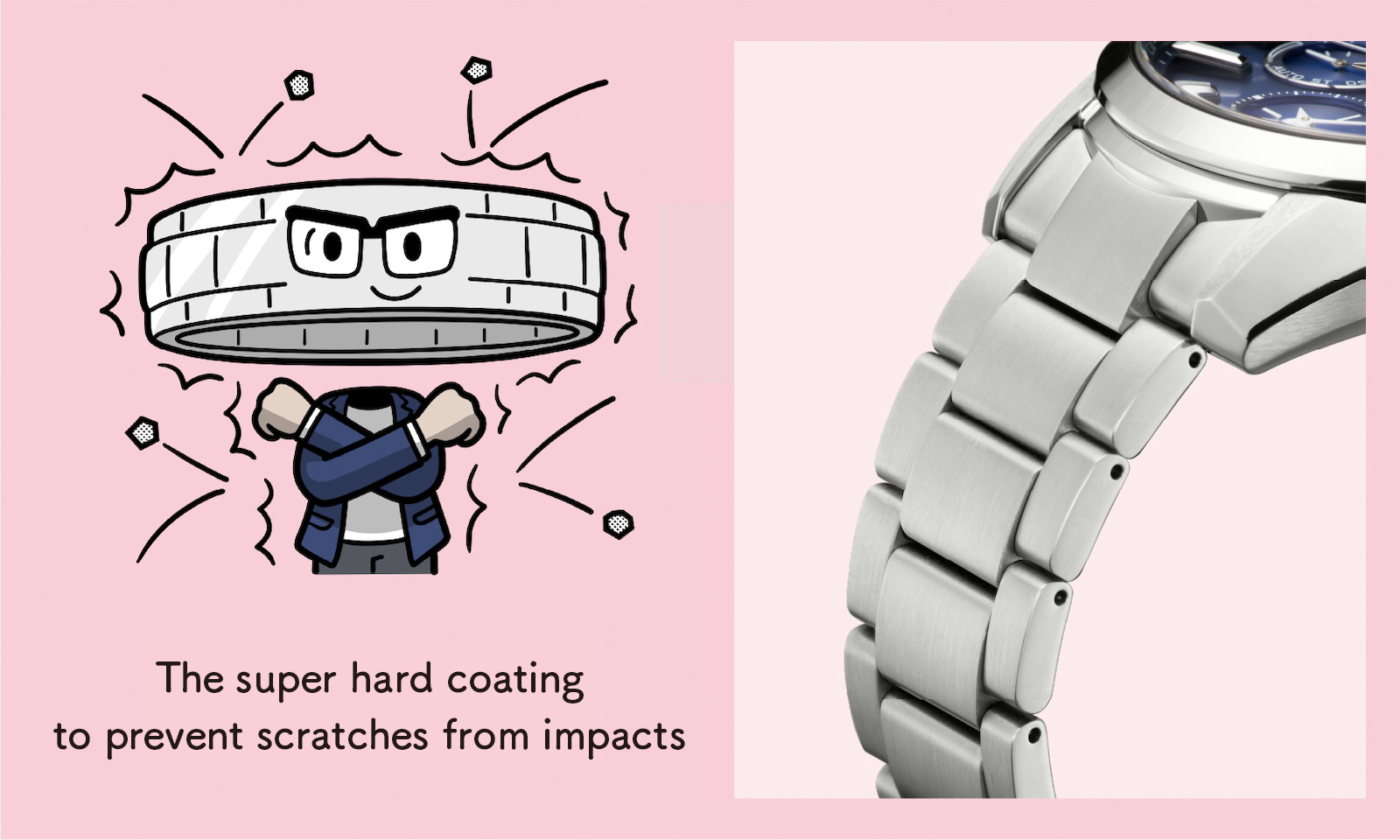 The super hard coating to prevent scratches from impacts (Enlarged photo of the bracelet)
