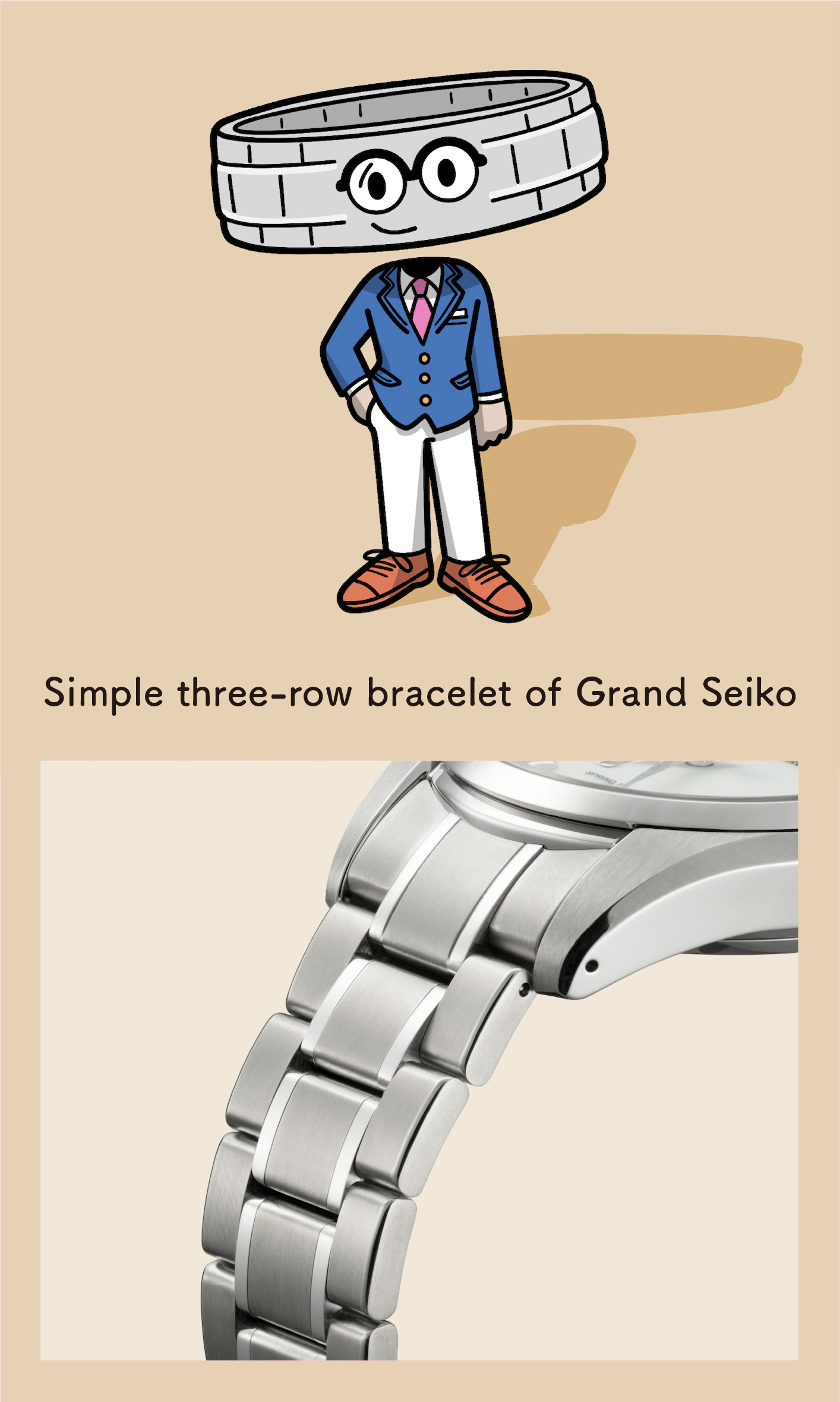 Simple three-row bracelet of Grand Seiko (Enlarged photo of the bracelet)