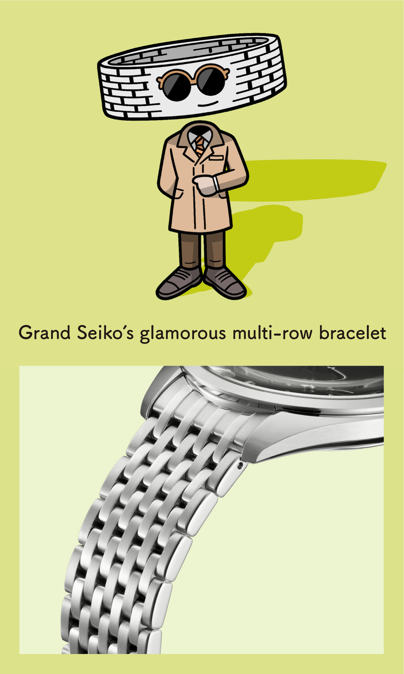Grand Seiko's glamorous multi-row bracelet (Enlarged photo of the bracelet)