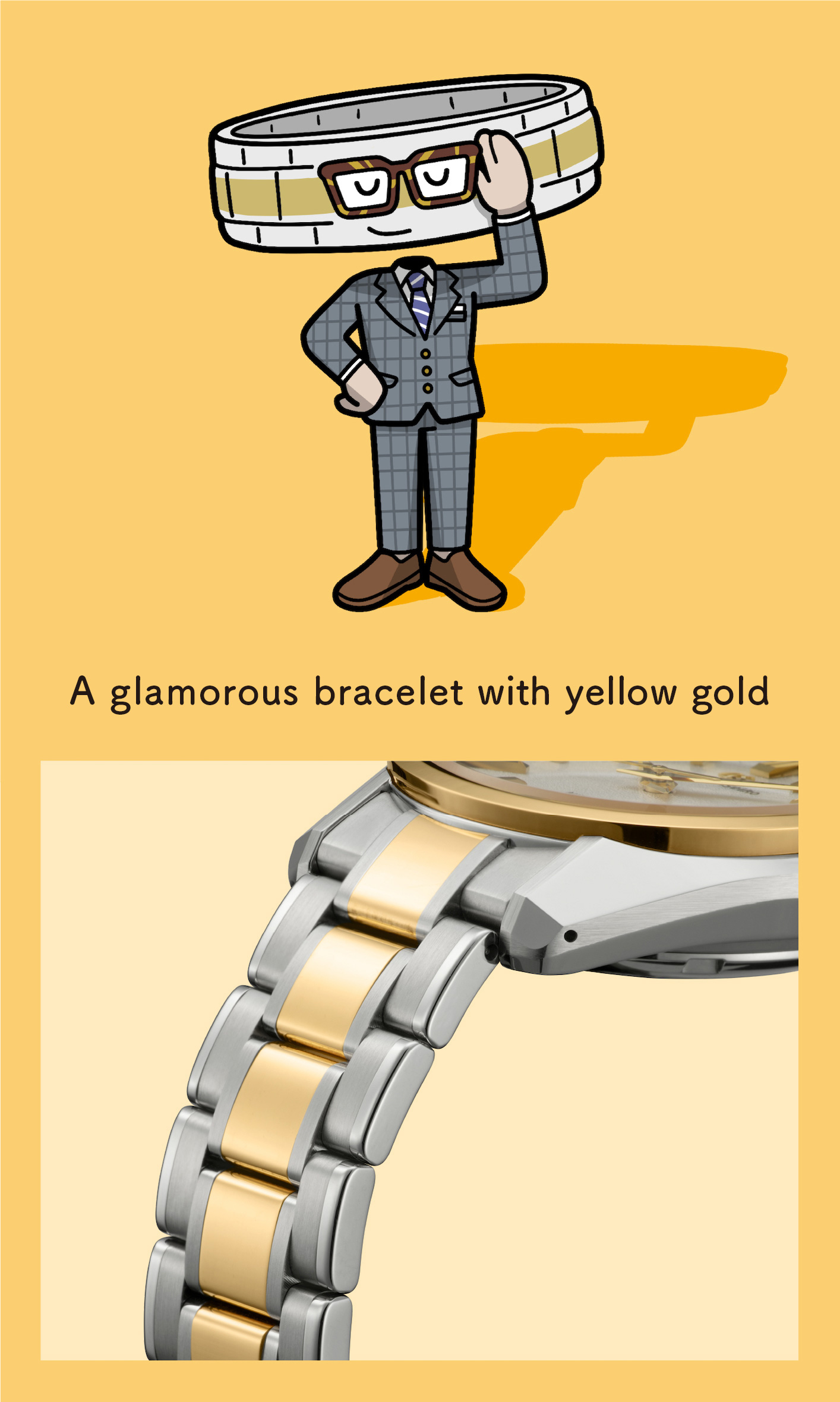 A glamorous bracelet with yellow gold (Enlarged photo of the bracelet)