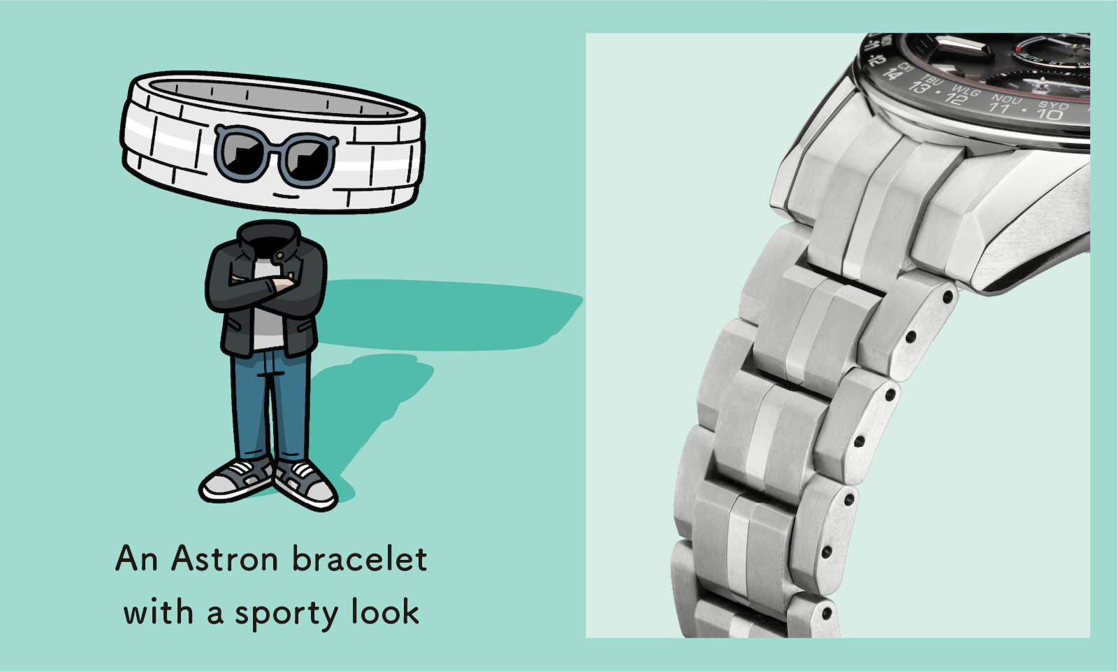 An Astron bracelet with a sporty look (Enlarged photo of the bracelet)
